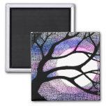 Tree and Moon - Pink Purple Fridge Magnet