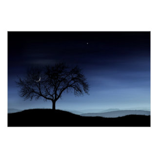 Tree and Moon Poster
