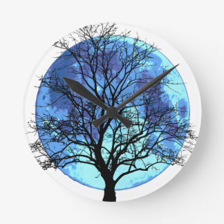 Tree and Moon Round Clock