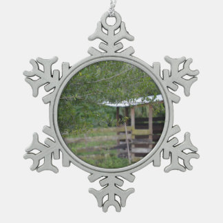 tree and old barn florida photo snowflake pewter christmas ornament