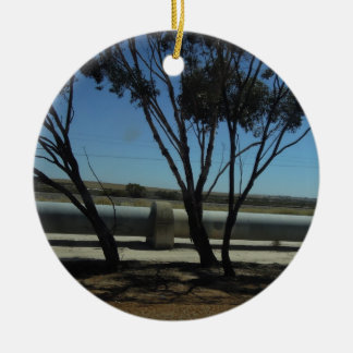 Tree and Pipeline Design Double-Sided Ceramic Round Christmas Ornament