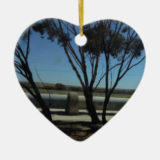 Tree and Pipeline Design Double-Sided Heart Ceramic Christmas Ornament