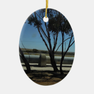 Tree and Pipeline Design Double-Sided Oval Ceramic Christmas Ornament