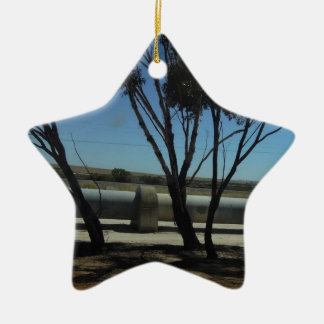 Tree and Pipeline Design Double-Sided Star Ceramic Christmas Ornament