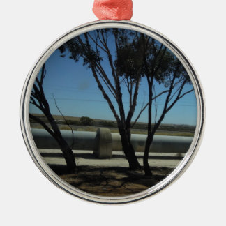 Tree and Pipeline Design Round Metal Christmas Ornament