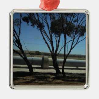 Tree and Pipeline Design Square Metal Christmas Ornament