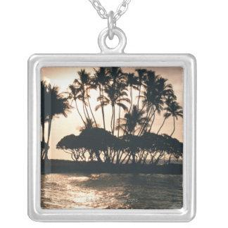 Tree and Sea Square Pendant Necklace