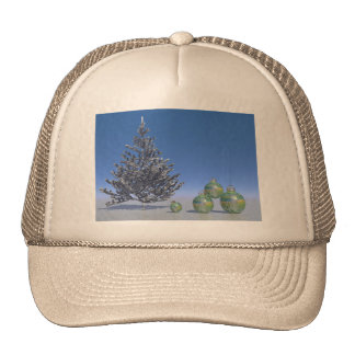 tree and snow and christmas trucker hat