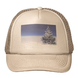 tree and snow white trucker hat