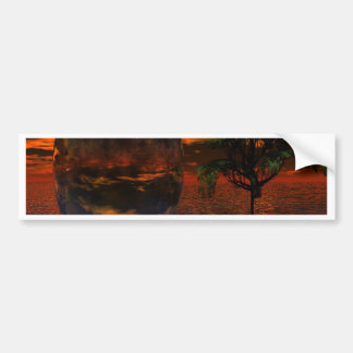 Tree and Sphere in Wavy Water with Eagle Flying Bumper Sticker