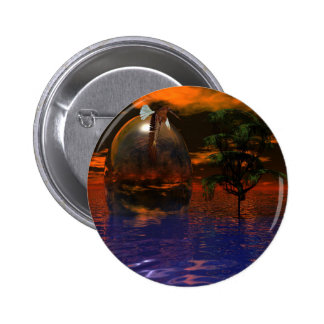 Tree and Sphere in Wavy Water with Eagle Flying Button