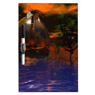 Tree and Sphere in Wavy Water with Eagle Flying Dry-Erase Board