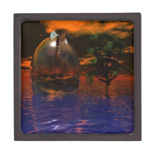Tree and Sphere in Wavy Water with Eagle Flying Keepsake Box