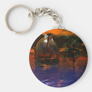 Tree and Sphere in Wavy Water with Eagle Flying Keychain