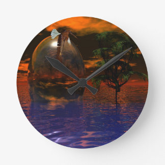 Tree and Sphere in Wavy Water with Eagle Flying Round Clock