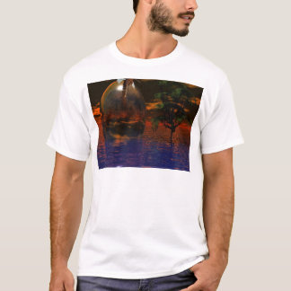 Tree and Sphere in Wavy Water with Eagle Flying T-Shirt