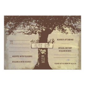 tree and string lights wedding RSVP cards
