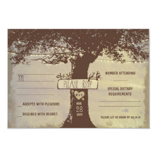 "tree and string lights wedding RSVP cards 3.5"" X 5"" Invitation Card"