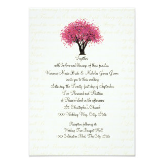 Tree and Text Design Wedding Pink Card