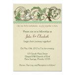 "Tree and Turtledoves Invitation: Mint Green 5"" X 7"" Invitation Card"