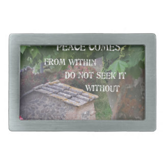 Tree and wall with Budha message Belt Buckle