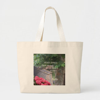 Tree and wall with Budha message Large Tote Bag