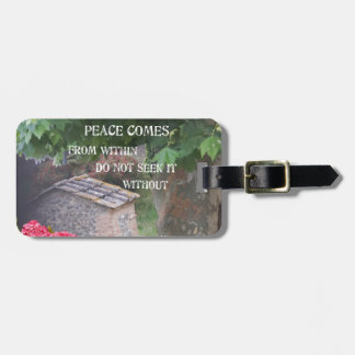 Tree and wall with Budha message Luggage Tag