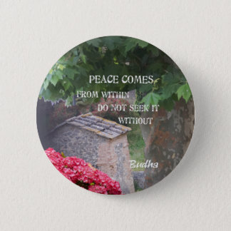 Tree and wall with Budha message Pinback Button
