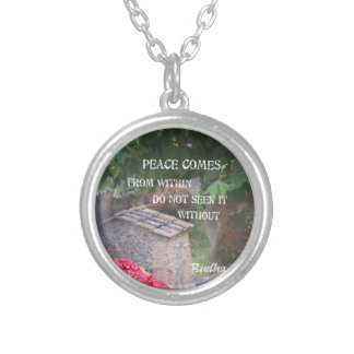 Tree and wall with Budha message Silver Plated Necklace