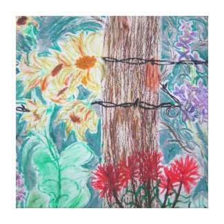 Tree and Wild Flowers Canvas Prints