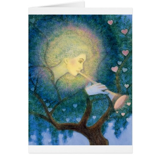 Tree Angel Musical Hearts Love Call for Christmas Greeting Card