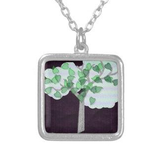 Tree appliqué square pendant necklace