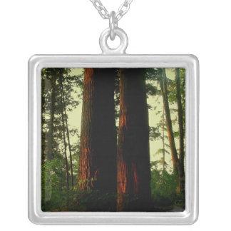 Tree Art Square Pendant Necklace