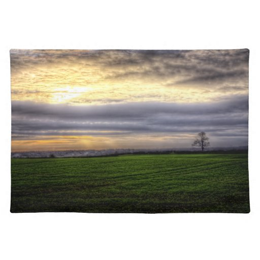 Tree at sunset HDR photography placemat Cloth Placemat