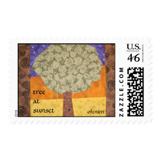 Tree At Sunset Postage Stamps