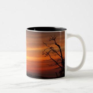 Tree At Sunset Two-Tone Coffee Mug