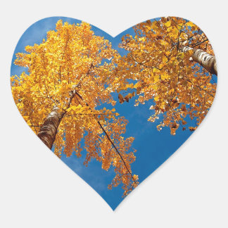 Tree Autums Woods Sky Heart Sticker
