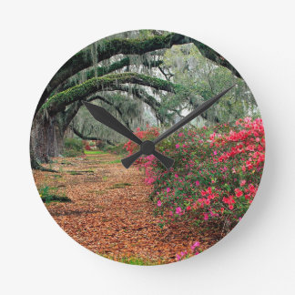 Tree Azaleas And Live Oaks Plantation Wallclock