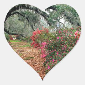 Tree Azaleas And Live Oaks Plantation Heart Sticker