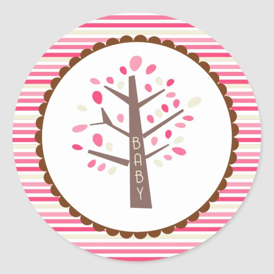Tree Baby Shower Cupcake Toppers/Stickers Classic Round Sticker