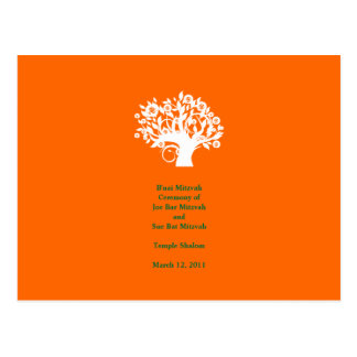 "Tree Bar Mitzvah Wedding Program 4"" x 6"" Card"