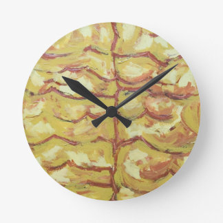 Tree Bare Branches (abstract expressionism) Round Clock