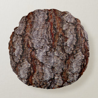 Tree bark all around round pillow
