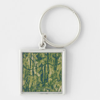 Tree bark camouflage pattern Silver-Colored square keychain