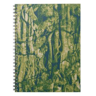 Tree bark camouflage pattern spiral notebook