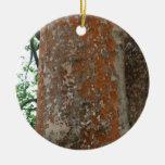 Tree Bark Double-Sided Ceramic Round Christmas Ornament
