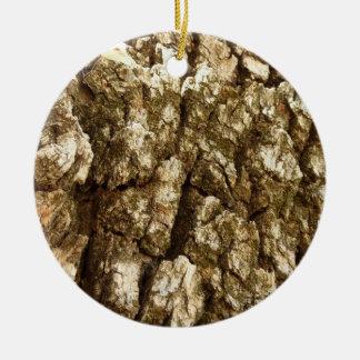 Tree Bark II Natural Abstract Textured Design Ceramic Ornament