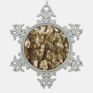 Tree Bark II Natural Abstract Textured Design Snowflake Pewter Christmas Ornament