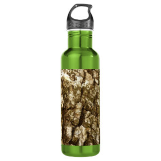 Tree Bark II Natural Abstract Textured Design Stainless Steel Water Bottle