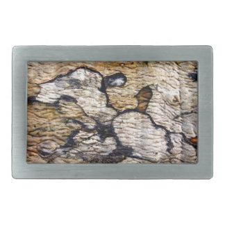 Tree bark pattern rectangular belt buckle